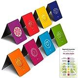 Marcapáginas Magnéticos Chakras con Punteros (contenido en alemán), Diseños Originales con Información Sobre Los Chakras y Energía Equilibrada, 2,6 x 4 cm Tamaño Plegado (8 pieza)
