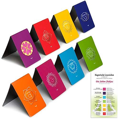 Segnalibri Magnetici Chakra (Tedesco) con Indicatori per Marcare Pagine, Calendari, Diario e contiene Informazioni sui Chakra(Dimensioni Piegate 2,7 x 4 cm - confezione da 8)