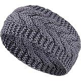Winter Stirnband Wolle Kabel Stricken Stirnband Haar Wickel Ohrwärmer für Frauen (Grau)