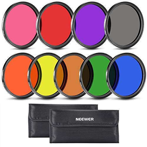 Neewer komplett Vollfarb-Objektiv-Filter-Set für Kamera-Objektiv mit 58 mm Filtergewinde Inkl. Rot/orange/blau/gelb/grün/braun/lila/rosa/grau ND Filter/Filter Halter