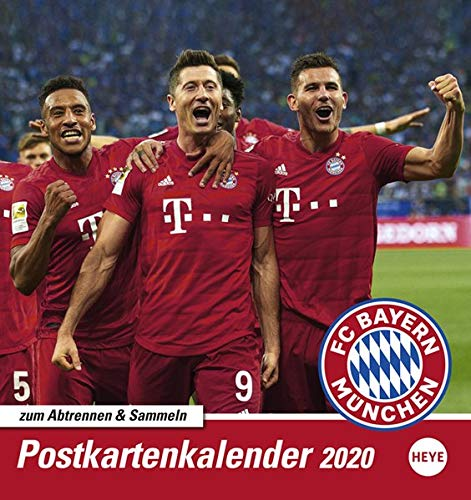 FC Bayern München Sammelkartenkalender. Postkartenkalender 2020. Monatskalendarium. Spiralbindung. Format 16 x 17 cm