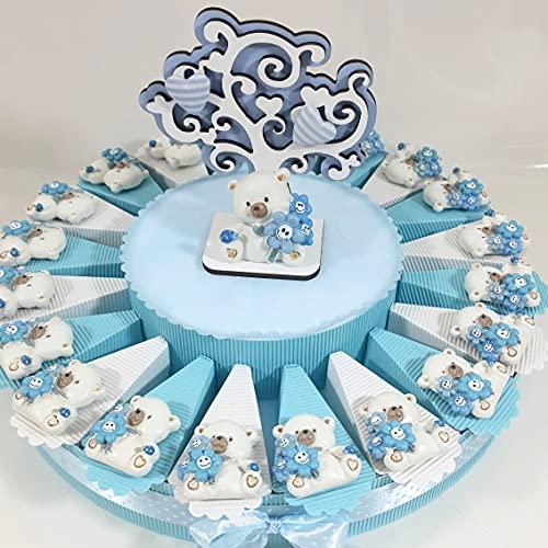 Bomboniere Orsetti Magnete Nascita,Battesimo Bimbo Torta di bomboniere Confetti Inclusi (Torta 20 fette)