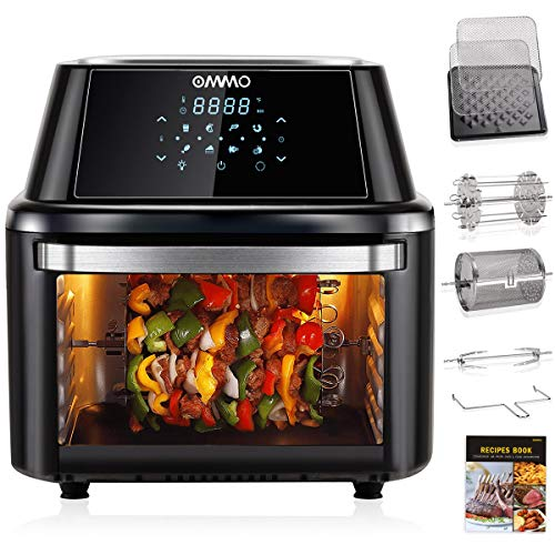 OMMO Air Fryer Oven,17Qt Air Fryer Toaster Oven,1800W Power Air Fryer Countertop Oven for Air Frying, Roasting, Reheating, Baking& Dehydrating, with Dishwasher Safe Accessories, Recipes Included