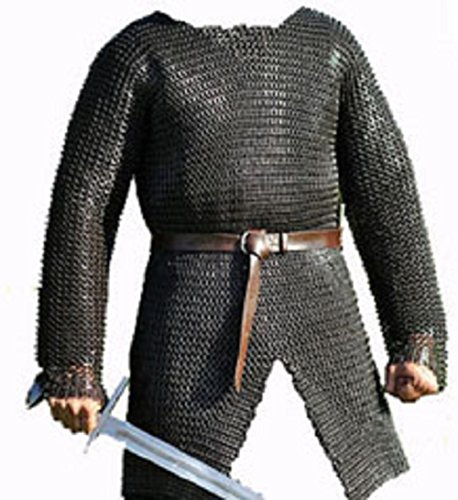 SANGAMSTEELCRAFT Full Sleeve Hubergion Shirt Round Riveted with Flat Warser Chainmail Shirt 9 mm (Large, Black)