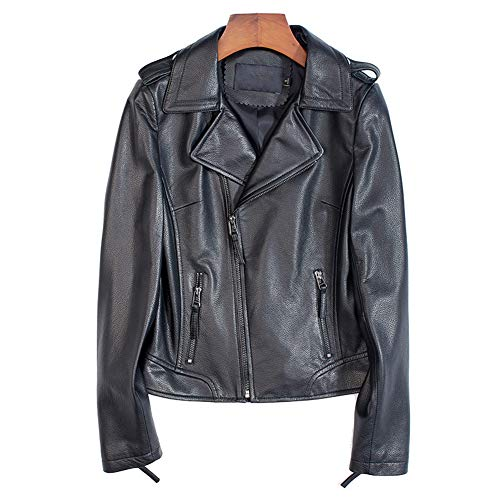 HUIGE Echtlede Lammfell Jacken Damen Motorradjacke Bikerjacke Lederjacke Outwear Kurz Damenjacke Revers Mode Langarm Knopf Freizeit Outwear,Schwarz,XL