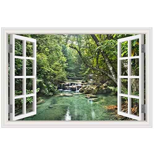 tinghua PVC 3D Fenster Natur Landschaft Wandaufkleber Wohnzimmer Home Decor Wasserdicht Green Forest Lake View Wallpaper 40 * 60Cm