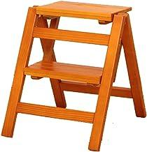 Familie opstapkrukje, Solid Wood Huishoudladder - Multifunctionele vouwladder Indoor Ascending Two-Step Herveboon Ladder V...