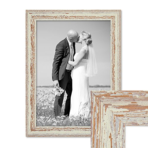 PHOTOLINI Vintage Bilderrahmen 30x40 cm Weiss Shabby-Chic Massivholz mit Glasscheibe und Zubehör/Fotorahmen/Nostalgierahmen