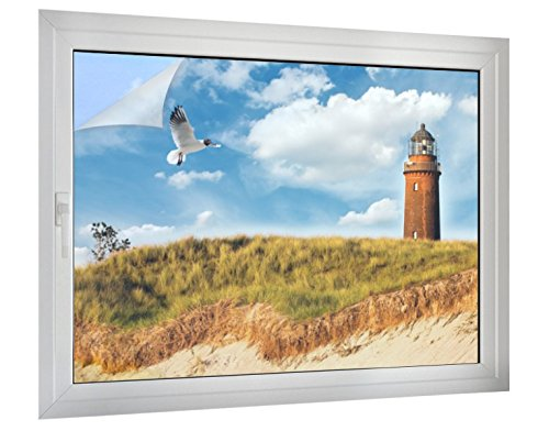 Klebefieber Sichtschutz Möwe am Leuchtturm B x H: 120cm x 90cm