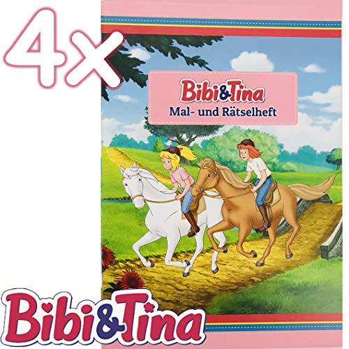 4 Mal- und Rätselhefte * BIBI & TINA * mit 12 Seiten in DIN A6 | perfekt als Mitgebsel oder Geschenk | Malbuch Malen Malblock Kinder Pferde Pony Mädchen