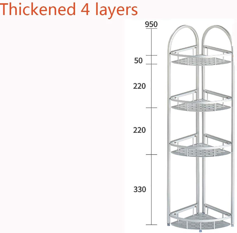 Bathroom Shelf No Drilling Space Aluminum Rust Resistant Floor-Standing Bathroom Shelf Rack,Thickened4layers