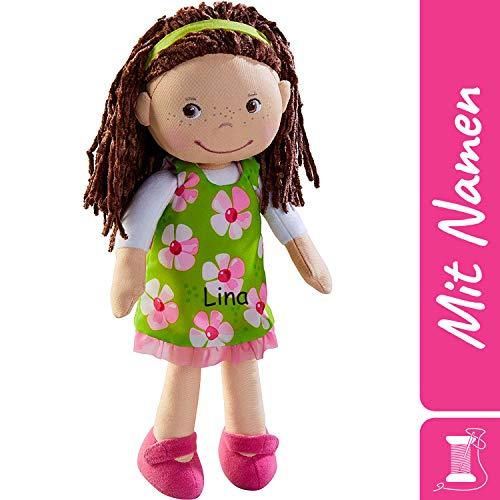 HABA Stoffpuppe Coco mit Namen Bestickt, weiche Erste Baby Puppe mit Kleidung und Haaren, 0-5 Jahre Kuschelpuppe Taufgeschenk, Anziehpuppe Kuschelpuppe 303666