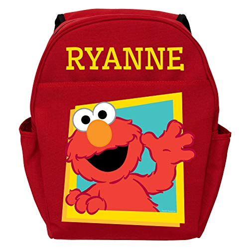 Personalized Sesame Street Hello Elmo Backpack with Zipper Pockets and Adjustable Shoulder Straps - Custom Name Printed on Book Bag, Toddler Size 12' x 14', Red
