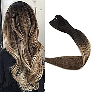 Full Shine 12 Inch Balayage Hair Bundle 100 Gram Balayage Color 1B Off Black Afading To Brown With Honey Blonde Highlighted Hair Bundle No Shed Hair Weft Blonde Sew In Straight Human Hair