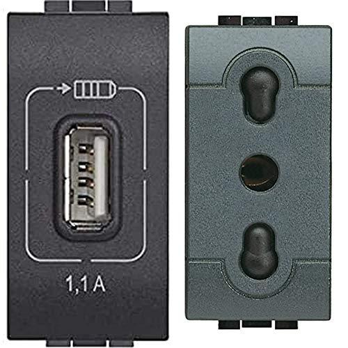 Bticino L4285C1 Connettore USB, antracite & SL4180F Presa 2P+T 10/16A bipasso Serie Living International, Antracite