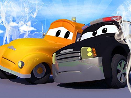 Das Kleines rosa Auto und Streifenwagen Feuerwehrauto und Polizeiauto