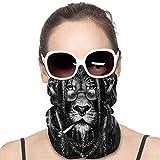XCNGG Dj Lion cover Bandanas para Mujeres Hombres Cuello Polaina Mitad Multifuncional Headwear para el Polvo al aire libre Deportes Bufanda Negro