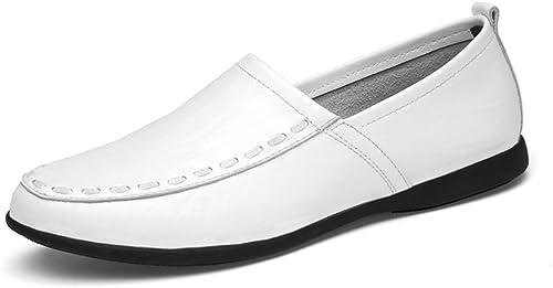 CHENDX Chaussures, Mocassins Mode Homme en Cuir Véritable Mocassins à Semelle en Daim (Couleur   blanc Breathable Style, Taille   45 EU)