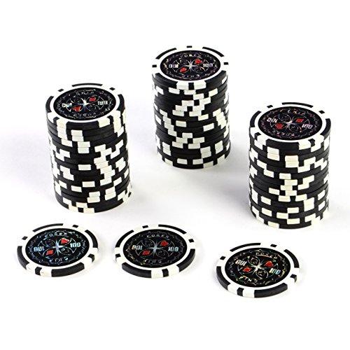 50 Poker-Chips Laser-Chips Metallkern 12g Poker Texas Hold`em Black Jack Roulette reflektierend Tokens Jetons Casino 1 Rolle Wert 1-10000 wählbar (Wert 100)