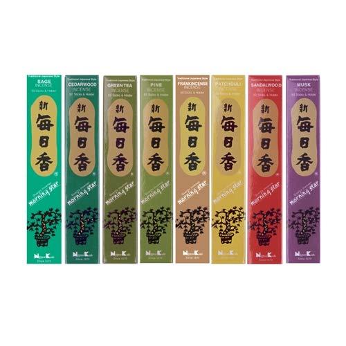 MORNING STAR - Coffret cadeau d'encens japonais, lot de 8 parfums d'intérieur (bois et herbes).