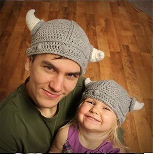 mlpnko Baby Wollmütze süße Baby Mütze handgemachte Baby Mütze Kinder Wilde Strickmütze kleine Hornkappe Erwachsene Modelle 50-52cm