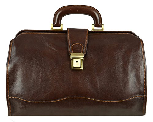 Leather Doctor Bag Medical Satchel Unisex Dark Brown - Time Resistance