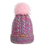 Kids Toddler Baby Winter Beanie Hat, Children's Warm Fleece Lined Knit Thick Ski Cap with Pom Pom for Boys Girls (Mix Rainbow)