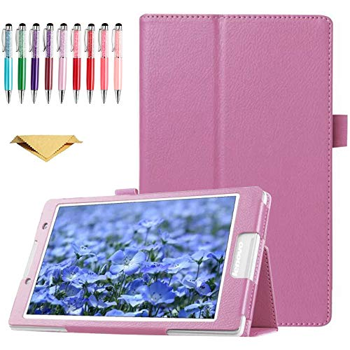 QYiD Case for Lenovo Tab 4 8 inch Leather TB-8504F TB-8504X, Slim Folding PU Leather Cover Case with Auto Sleep/Wake Feature for Lenovo Tab 4 8.0 (NOT for TB-8304F or Plus Model TB-8704), Pink