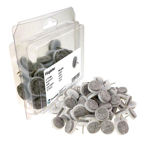 Trevendo® 32 Stück Filzgleiter zum Nageln, Ø 17 mm, weiß