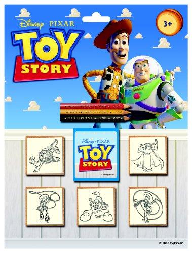 Multiprint Blister 5 Sellos para Niños Disney Toy Story 4, 100% Made in Italy, Sellos Personalizados para Niños, en Madera y Caucho Natural, Tinta Lavable no Tóxica, Idea de Regalo, Art.05776