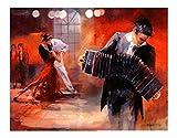 XIAOXINYUAN 100% Pintado A Mano Pintura Al Óleo Pareja De Baile Tocando El Acordeón Moderno Arte Abstracto Personaje Imágenes para Sala De Estar Decoración para El Hogar 60×120Cm