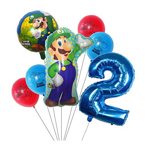 Xx101 Globo 7 unids Super Mario Globos 30 Pulgadas Número 1 2 3 Balloon Boy Cumpleaños Decoración de la Fiesta de la Fiesta de Dibujos Animados Game Theme Party Supplies Kids Toys
