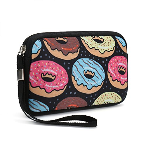 Unisex Portable Washable Travel All Smartphone Wristlets Bag Clutch Wallets, Change Purse,Pencil Bag,Cosmetic Bag Pouch Coin Purse Zipper Change Holder With Strap (Bread Donuts)