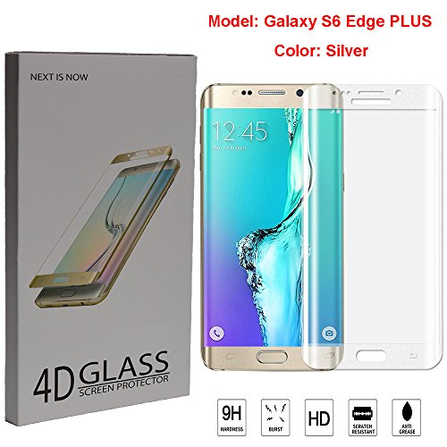 S6 Edge Plus Screen Protector, Venmox Premium Tempered Glass Full Coverage Protection High Definition(HD) 3D Curved Film Ultra Clear for Samsung Galaxy S6 Edge+ (Silver)