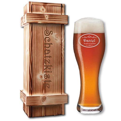 Leonardo Weissbierglas in geflammter Holzkiste | mit kostenloser Gravur | Bier-Geschenk-Set | Weizenbier-Set | Individuelle Geschenkidee (B4)