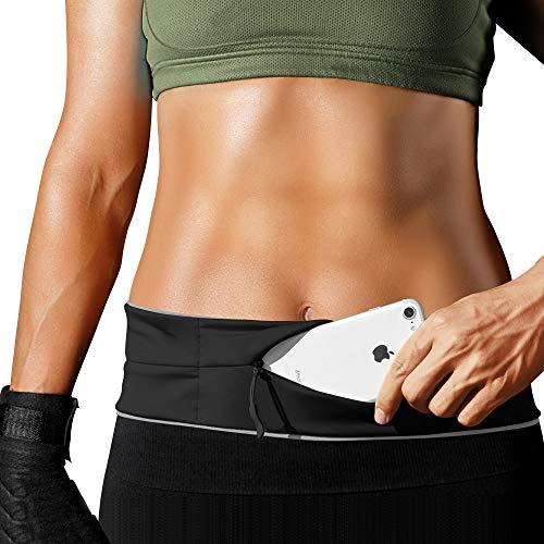 PORTHOLIC Laufgürtel für Smartphone,Lauftasche,Schlüssel Hüfttasche,Jogging Flip Gürtel mit Reißverschluss,Reflektierender Bund,für iPhone 11 11pro X/XS/XR/Max/7/8 Plus,Samsung S10/S7/8/9,Huawei,LG