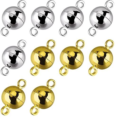 Cierres magnéticos para joyas,Joyas de cierre magnético, 10 piezas de joyería Cierres magnéticos Cierres magnéticos redondos para hacer pulseras, collares, 8 mm (oro y plata)