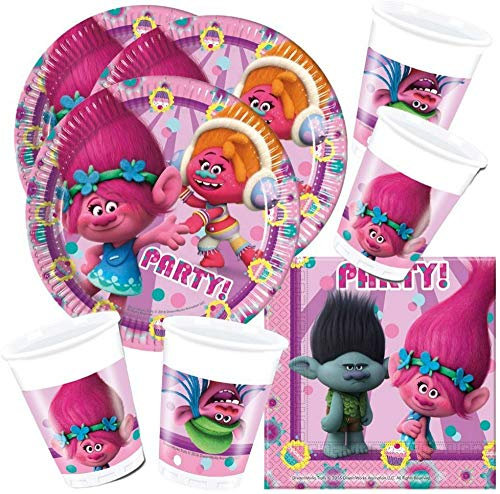 CAPRILO. Lote de Cubiertos Infantiles Desechables Trolls (8 Vasos, 8 Platos y 20 Servilletas) .Vajillas y Complementos. Juguetes para Fiestas de Cumpleaños, Bodas, Bautizos y Comuniones.