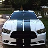 Boilipoint 1Set Racing Stripes Graphics Vinyl Decal Wrap Kit Hood,Roof,Tunk for Car Truck Vehicle Vinyl Decal Custom Made Fit for All Cars SUV Free Size