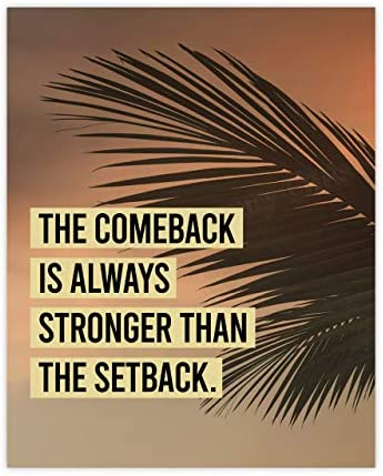 The Comeback Is Always Stronger Than The Setback Motivational Wall Art 8 x 10 Typographic Palm product image