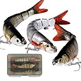 MEJOSER 3Pcs Fishing Lures with Storage Box Multi Jointed 3D Lifelike Fishing Lures Artificial Bass Pike Fishing Baits Sinking Hard Tackle 4# 6# Fishing Hooks Artificial Fishing Bait Set