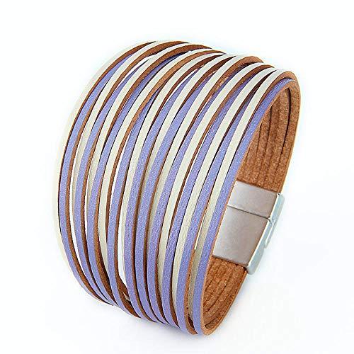 N/A Pulsera Moda Multicapa Envolver Pulseras de Cuero para Mujeres Cierres magnéticos Mujeres Pulsera Brazalete Brazalete Joyas Regalos Pulseras Mujer Púrpura