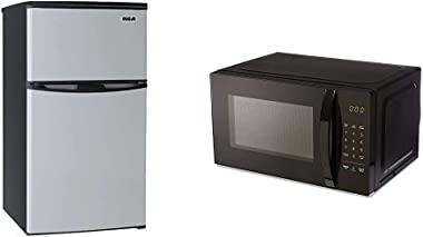 3.2 Cubc Foot 2 Door Fridge and Freezer, Stainless Steel & AmazonBasics Microwave, Small, 0.7 Cu. Ft, 700W, Works with Alexa