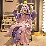 YJHY Cute Bunny Ears Open Front Plush Hooded Pajama Set - Long Sleeve Soft Fuzzy Loungewear (Purple,M)