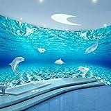 Papel Pintado Mural De Acuario Con Delfines Estéreo 3D Personalizado, Papel Tapiz Impermeable Para Baño, Dormitorio Infantil, Telón De Fondo, Revestimiento De Paredes 120Cm(W)×80Cm(H)