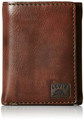 Levi's Men's Trifold Wallet - Sleek and Slim Includes ID Window and Credit Card Holder,Brown Stitch