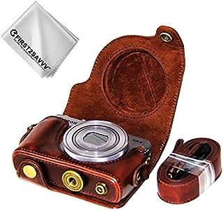 Marron Oscuro Funda Cámara Cuero de la PU Cámara Digital Bolsa Caso Cubierta con Correa para Canon PowerShot G9 X Mark II. G9X MK2 G9X + 1 x Paño de Limpieza XJD-G9XMkII-10G11
