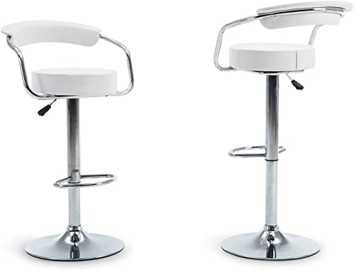 discount BELLEZE 2 popular PU Leather Modern Adjustable Swivel Barstools wholesale Hydraulic Chair Bar Stools, White online