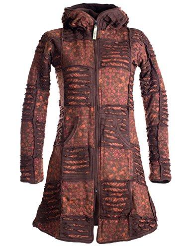 Vishes - Alternative Bekleidung - Warmer Elfen Patchworkmantel aus Baumwolle mit Fleecefutter und Kapuze braun 32/34