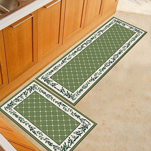 MWPO 2 Stück rutschfeste Küchenmatte Fußmattenmatten wasserdichte Küchenteppiche Indoor Waschbarer Teppich Set Badmatte Eingangsmatte grün 60x90 + 60x180cm